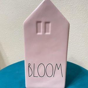 Pink Rae Dunn ceramic vase House shape BLOOM.